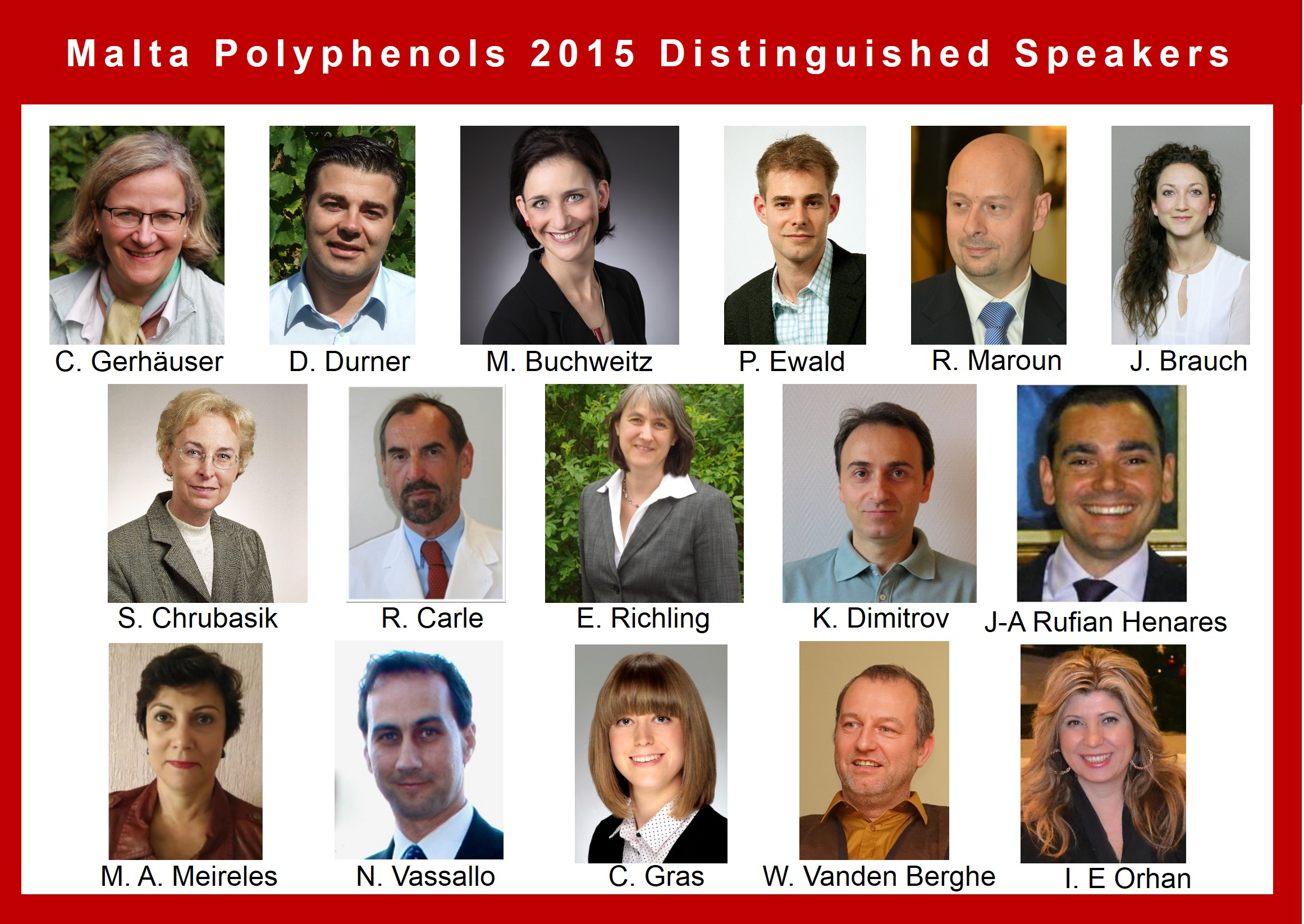 Distinguished Speakers will gather during Malta Polyphenols 2015